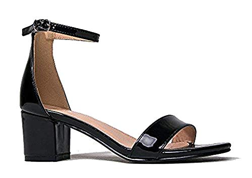 fc7445049f87 J. Adams Ankle Strap Kitten Block Heel - Cute Easy Strappy Party Sandal -  Buckle