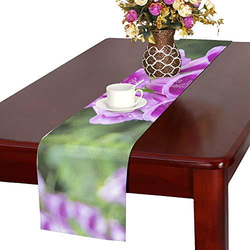 (QYUESHANG Digitalis Purpurea Foxglove Common Foxglove Table Runner, Kitchen Dining Table Runner 16 X 72 Inch for Dinner Parties, Events, Decor)