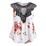 Women Tops Floral Lace Printing Off Shoulder Shirt Sleeveless Vest Tank Tops Blouse White