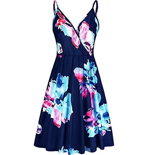 iBOXO Fashion Sling Dress Sexy V-Neck Halter Elegant Print Big Swing Party Evening -
