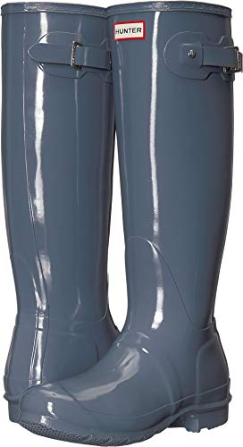 (Hunter Women's Original Tall Gloss Rain Boots Gull Grey 6 M US )