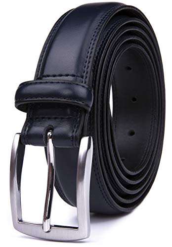 [해외]남성용 벨트 수제 정품 가죽 100% 소가죽 클래식 및 패션 디자인 / Men`s Belt, Classic and Fashion Designs for Work Business and Casual, Regular Big & Tall Sizes Handmade Genuine Leather, Black White Brown Wine Navy Tan (52, Navy)