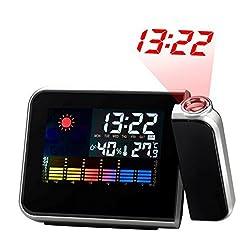 Yuccer Digital Projection Alarm Clock Rotating Snooze Temperature LCD Display Night Clock, Black (Alarm Clock)