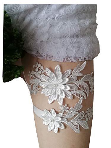 Ivory Bridal Garters - Oyabridal Garter for Bride Wedding Garter Set Floral Bridal Garter Lace W010 (Ivory)