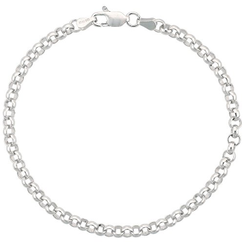 Sterling Silver Italian Rolo Chain Bracelet 4mm Medium Thick Nickel Free, 7 inch