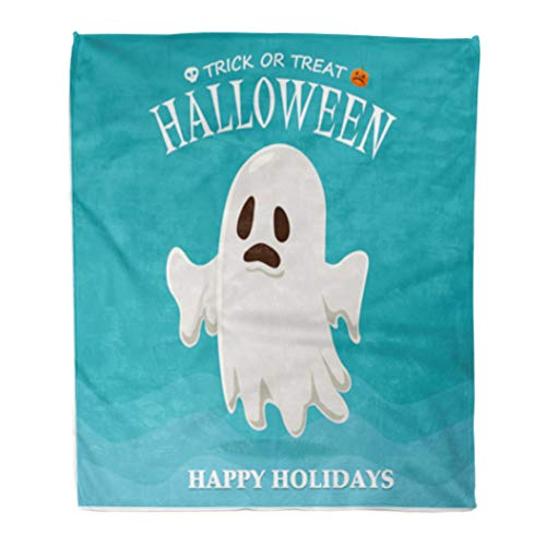 Golee Throw Blanket Caricature Vintage Halloween Ghost Character Cartoon Children Comic Costume Creepy 50x60 Inches Warm Fuzzy Soft Blanket for Bed Sofa for $<!--$34.90-->
