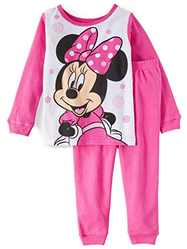 (Toddler Girls Minnie Mouse Long Sleeve Cotton Snug Fit Pajamas (3T) Pink)