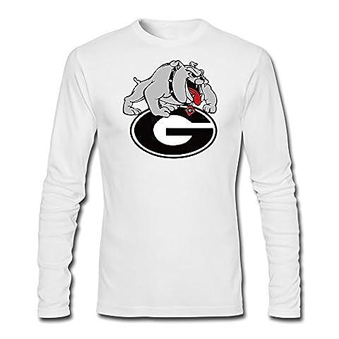 YAK Men's Georgia Bulldogs Hairy Dawg Tshirt White 100% Cotton (Georgia Blues Dawgs)