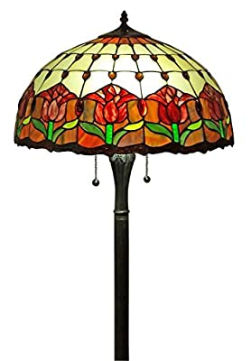 Amora Lighting AM002FL18 Tiffany Style Tulips Floor Lamp 18-Inch Shade, Multi