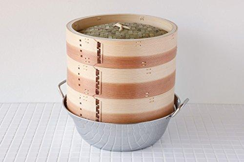【かごや】杉 中華蒸篭(セイロ蒸し器)30cmステンレス鍋付セット[クッキングシート10枚付](0135)「せいろで蒸す」レシピ2品付 30cm  B01LCD47W0