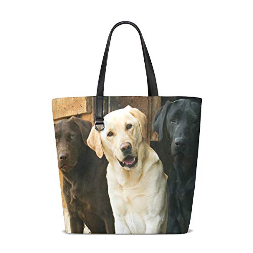 (Chocolate Yellow Black Labrador Retriever Dogs Tote Bags Handbag Waterproof Shopping Totes For Women Girls Travel Beach Double-sided use)
