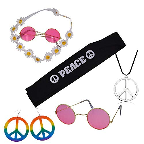 Hippie Costume Set Includes 2 Pcs Headband,2 Pcs Glasses,1 Piece Peace Sign Necklace and 1 Pair Earrings to Make You The Hit of The Party for Hippies