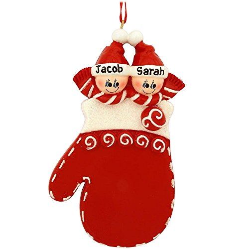 Mitten Family 2 Personalized Christmas Tree Ornament