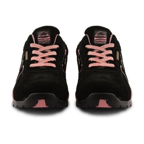 Homme GR86léger Dessus en cuir, Embout en acier à lacets Chaussures de sécurité. Noir (Noir/Rose)
