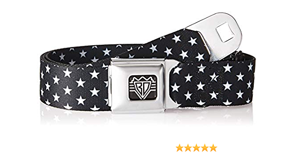 Buckle-Down Unisex-Adults Seatbelt Belt Stars Regular 1.5 Wide-24-38 Inches Mini Black//White
