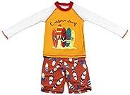Gogokids Boys Long Sleeves Swimsuit - Kids 2 Pieces Swimwear Swim T-Shirt and Trunks