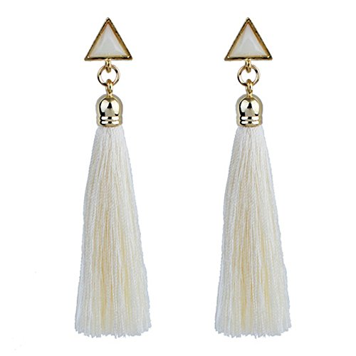 Ranoff Women Earrings Bohemian Women Ethnic Hanging Rope Tassel Earrings for Weddings Parties Gift (White) ()