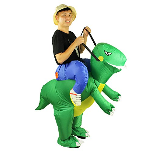 T-Rex Dinosaur Inflatable Costume - Halloween Cosplay Piggyback Suit Adult Fantasy Costume Green for $<!--$34.99-->