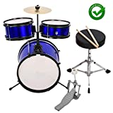 Drum Set Kids Children's Junior Beginner Drum Kit with Cymbals Stands Stool Sticks Metallic Blue,Metallic Royal Blue, 3-Piece Set
