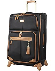 Steve Madden Luggage Large 28 Expandable Softside Suitcase With Spinner Wheels (28in, Harlo Black)