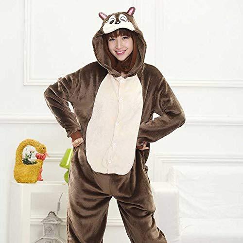 JIAWEIDAMAI Pijama de Ardilla marrón para Adultos, Halloween ...