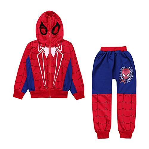 (XYSSWW New Baby Boys Spring Autumn Spiderman Sports Casual Clothes Coat+Pant (Blue, 5T))