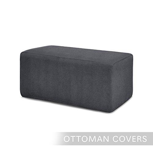 Chunyi Stretch Spandex Jacquard Rectangle Folding Storage Ottoman Slipcover (Ottoman(S), Gray)
