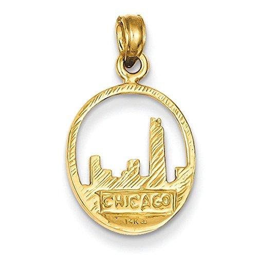 Chicago Skyline 14 Carats Pendentif en forme de cercles-Dimensions :  22,1 x 12,9 mm-JewelryWeb