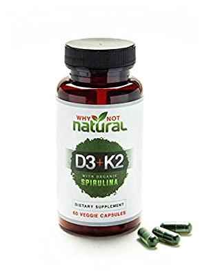 Green Vitamin K2 (MK7) & D3 10,000 IU Supplement w/ Organic Spirulina, 60 Capsules for Bone Health & Anti Aging Support :: Natural, Non GMO, Vegetarian for Men & Women by Why Not Natural