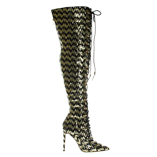 Military Combat Corset Lace Up Mesh Glitter Over The Knee, High Heel Dress Boot Goldbk