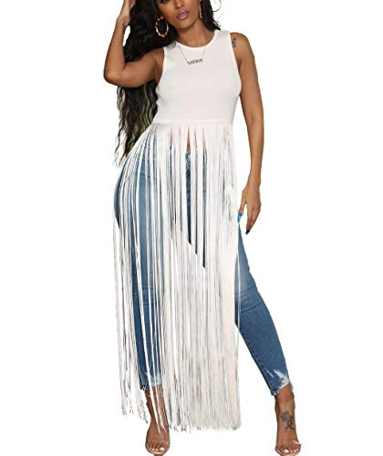 Fringe Sleeveless - Fastkoala Women Sexy Sleeveless Top - Solid Color Long Tassel Blouses and Tops Flowy Tee Shirts Clubwear White XL