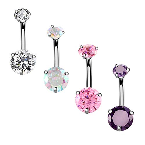 Pink Zircon Ring - YHMM 14G Surgical Steel Belly Button Rings Round Cubic Zirconia Navel Barbell Stud Body Piercing 2-6 Pcs (4 Pcs Clear+Pink+Colorful+Purple)