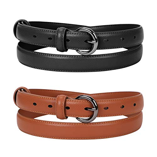 Women Skinny Thin Leather Belt For Jeans Pants Ladies Solid Color With Pin Buckle Fashion Waist Belts For Dress Casual ()
