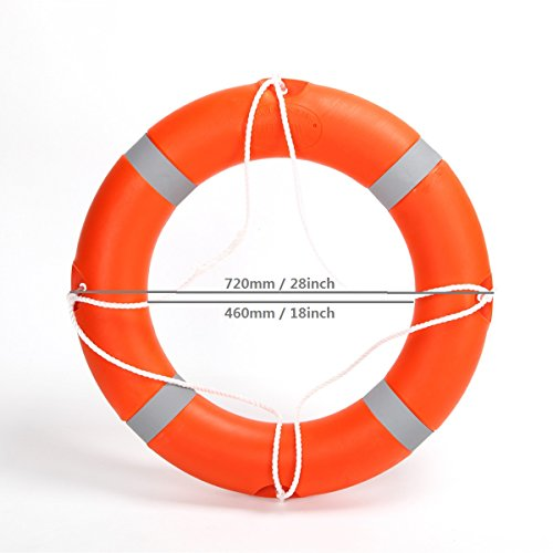 BeautySu. 28'' Diameter Professional Adult Foam Swim Ring Buoy Orange Lifering with White Bands by BeautySu. (Image #1)