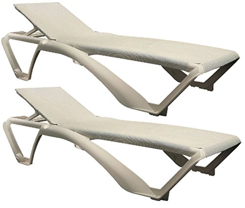 Resol Marina Sun Lounger / Bed - Ivory Cream Frame with Natural / Cream Canvas Material - Pack of 2 Loungers