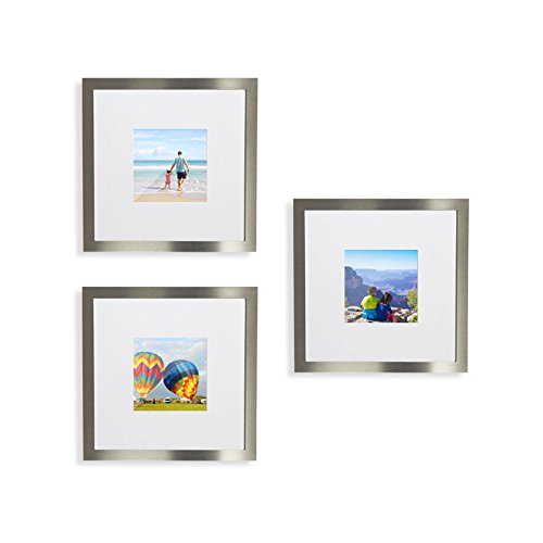 3-Set, Tiny Mighty Frames - Silver, Brushed Metal, Square Instagram Photo Frame, 8x8 (4x4 Matted) (3, - Metal Frame Square