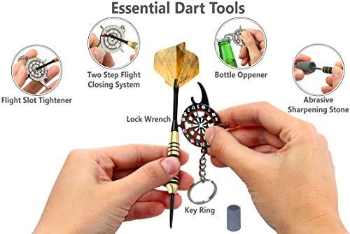 CC-Exquisite Professional Darts Set - Customizable Configuration 6 Steel Tip Darts 20g/24g with 12 Aluminum Shafts 35/48mm, 12 O-Rings, 12 Flights Standard/Slim, Dart Tool, Dart Sharpener and Case