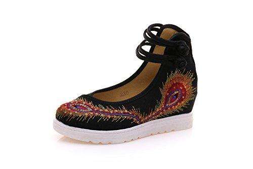 Tendine Moda Aumento Stile Biancheria Comodo Scarpe Black Femminili Suola Etnico Del Casual Ricamate Desy 8WwqvRxgXW