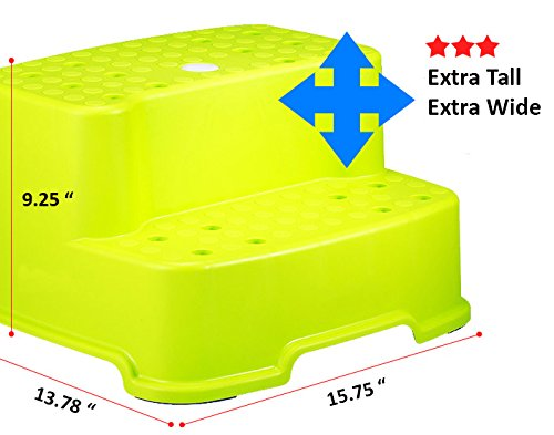 Tenby Living 2-PACK Green and Orange Extra-Wide, Extra-Tall Jumbo Step Stool with Removable Non-Slip Caps and Anti-Slip Rubber Grips