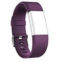 Vancle Fitbit Charge 2 Bands, Classic Edition Adjustable Comfortable Replacement Strap for Fit bit Charge 2 (No Tracker) (1PC (Plum), Large)