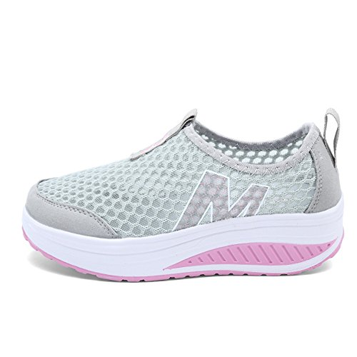 Bigcount Womens Mesh Platform Walking Shoes Toning Lightweight Slip-On Fitness Work Out Sneaker Gray OdY9t0Go