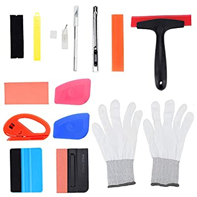 ESUMIC 14PCS Car Window Tint Film Tool Kit Vehicle Vinyl Wrap Tool Including Felt Squeegee with Spare Fabric Felts, Film Scrapers, Vinyl Cutter, Utility Knife, Carving Knife and Blades, Gloves: Automotive