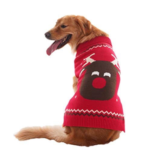 Cheap OFPUPPY Reindeer Dog Sweater Red Christmas Style Puppy Winter Coat for Girl and Boy Pets from Small to Large Size