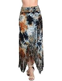 Fringe maxi skirt XLarge wrap cross over front fold waist tie dye navy black rayon bohemian