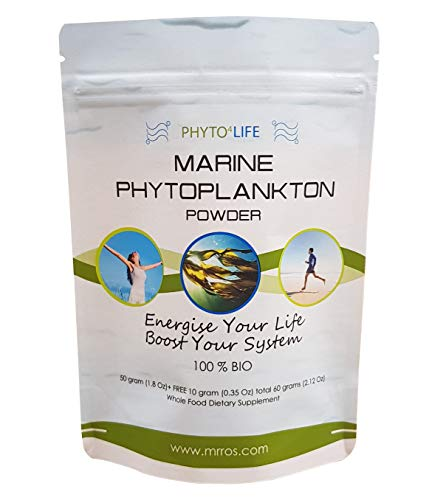 Marine Phytoplankton Superfood Powder 60 Grams (2.2 Oz)- Epa, Antioxidants & Minerals - Natural Superfood Nutritional Supplement with Omega 3 Fatty Acids-Suitable for Humans and Dogs