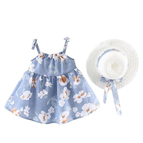 e889b2028 PAOLIAN Vestidos para bebe niñas Verano 2018 fiestas Conjuntos Sling  Vestidos + Sombrero de paja Impresion de Floral Sin Manga Ropa para bebe  niñas ...