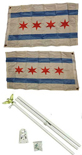 ALBATROS 2 ft x 3 ft 2x3 City of Chicago Illinois 2ply Flag White with Pole Kit Set for Home and Parades, Official Party, All Weather Indoors Outdoors