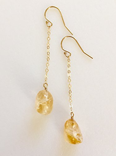 Golden yellow Citrine Earrings, Raw Citrine Nuggets, November Birthstone, Delicate Dangle Earrings, 14K Gold Fill, Sterling - Dangle Nugget