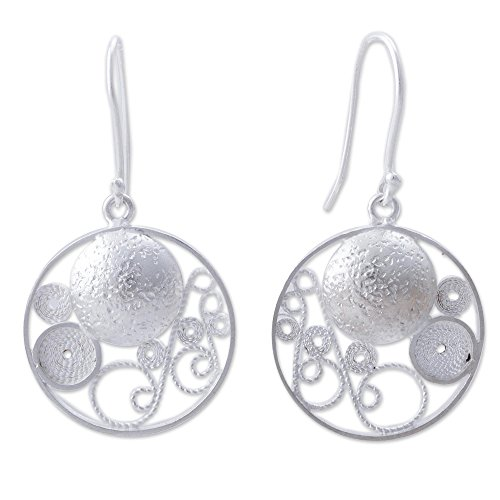 NOVICA .925 Sterling Silver Round Filigree Dangle Earrings, 'Circular Harmony' (Circular Filigree)