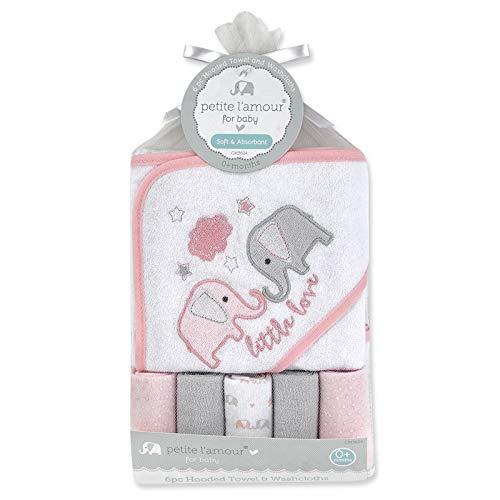 Safari Washcloth - Hooded Towel Washcloths 6 Piece Bath Set - Elephant White/Pink Baby Girl Shower Gift